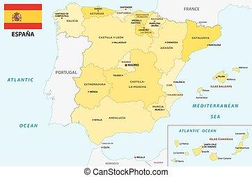 Karta Italien Spanien.Administrativ Politisk Spanien Karta