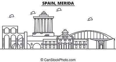 spanien, merida, arkitektur, fodra, horisont, illustration., linjär, vektor, stadsbild, med, berömd, milstolpar, stad, synen, design, icons., landskap, wtih, editable, slaglängder