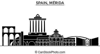 spanien, merida, arkitektur, vektor, stad horisont, resa, stadsbild, med, milstolpar, bebyggelse, isolerat, synen, fond