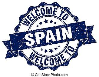 spanien, runda, band, försegla