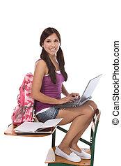 spanisch, laptop pc computer, student