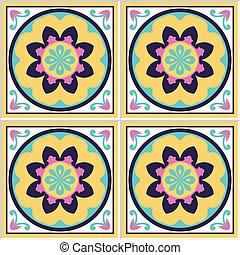 Spanischer , Keramische Fliesen, Mit, Blumen Muster