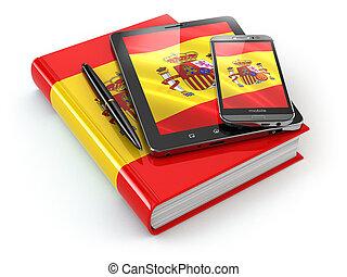 spanischer , learning., beweglich, vorrichtungen & hilfsmittel, smartphone, tablette pc, und, buch