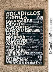 spanischer , menükarte