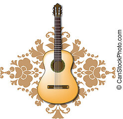 Spanish acoustic guitar with floral background