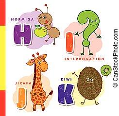 Spanish alphabet. Ant, question, giraffe, kiwi. Vector ...