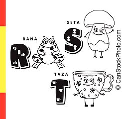 Spanish alphabet. Frog, mushroom, cup. Vector letters and...