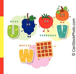 Spanish alphabet. Grapes, vegetables, waffles. Vector letters and characters.
