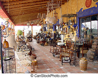 Spanish Antiques - A colorful antique shop in Spain in the...