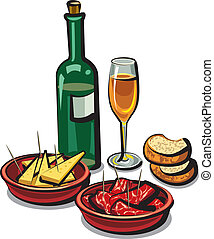 spanish appetizers and wine - spanish appetizers cheese, ham...