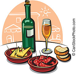 spanish appetizers (cheese, ham) and wine