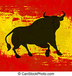 Spanish Background - A vector bull over a grunged Flag of...