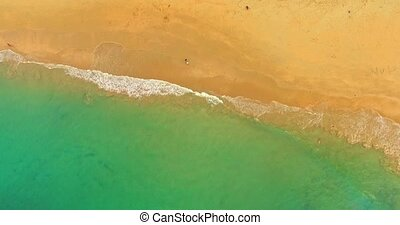 Spanish beach in summer time - Over Mediterranean sea with...