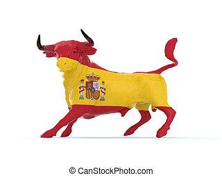 Spanish bull flag, 3d illustration