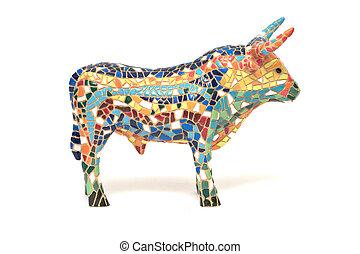 Spanish multicolored bull souvenir. Side view