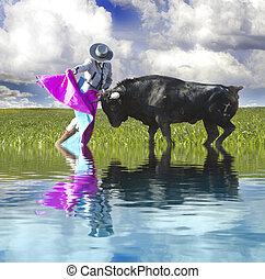 Spanish Bullfight with water reflection. Matador in Ring with Bull