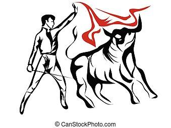 Bulls and bullfighter clipart vector - Search Illustration ...
