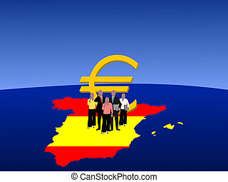 Spanish business team with currency