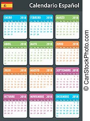 Spanish Calendar for 2018. Scheduler, agenda or diary...