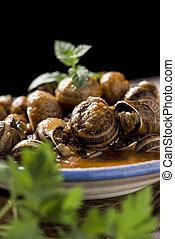 spanish caracoles en salsa, cooked snails in sauce