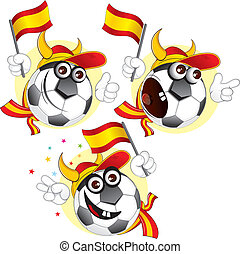 Spanish cartoon ball - Cartoon football character emotions-...