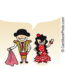 Spanish man and woman cartoon couple with dialogue bubble. Vector illustration layered for easy editing.