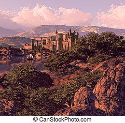Spanish Castle - Spanish castle landscape with sailboat.