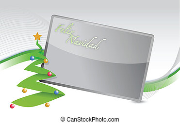 Spanish Christmas tree and banner background