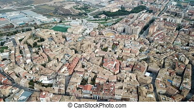 Spanish city of Huesca as seen from drone in autumn day