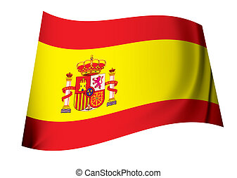 spanish coat of arms flag with red and yellow stripes