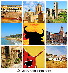 Spanish collage - a collage of nine pictures of different...