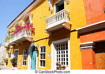 Spanish colonial house. Cartagena de Indias, Colombia's...