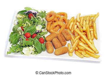 spanish combo platter with salad, croquettes, calamares a la romana and french fries on a white background