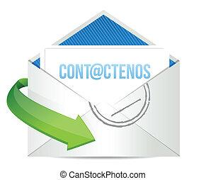 spanish contact us icon illustration design