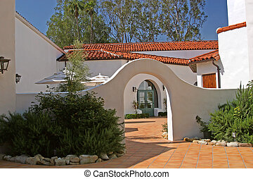 Spanish Courtyard - A courtyard in the Spanish architecture...