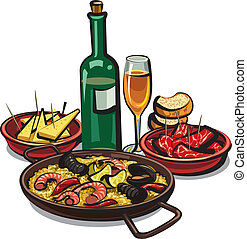 spanish cousine, paella with appetizers and wine