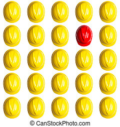 spanish crisis in construction - yellow helmet surrounded by...