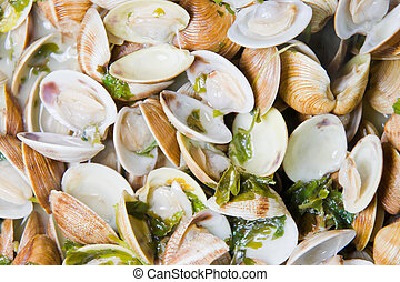 Spanish cuisine. Clams fisherman's style. Almejas a la ...