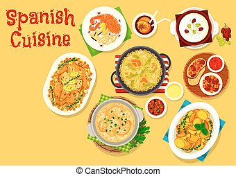 Spanish cuisine seafood and meat dishes icon