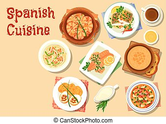 Spanish cuisine seafood dishes icon