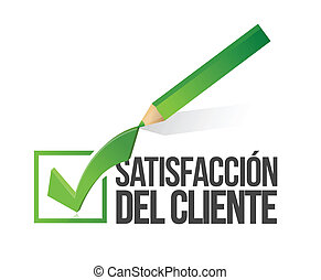 spanish, customer satisfaction checkmark, pencil