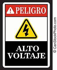 Spanish Danger High Voltage Sign Vector