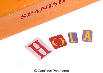 spanish dictionary and learning spanish book with the word...
