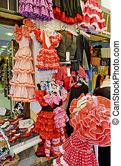 Spanish dresses, Cordoba, Andalusia, Spain