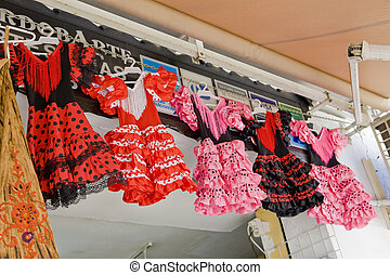 Spanish dresses, Cordoba, Andalusia, Spain