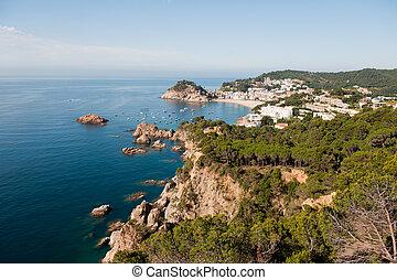 Spanish east coast with rocks and rough sea
