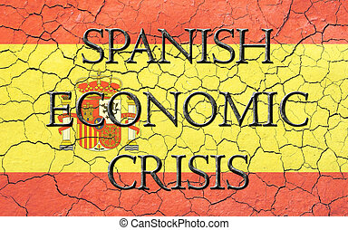 Spanish Economic Crisis Flag - Faded, cracked, and aged...