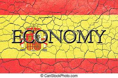 Spanish Economy Flag - Faded, cracked, and aged texture,...