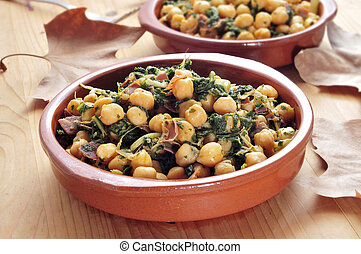 spanish espinacas con garbanzos, spinach with chickpeas,...