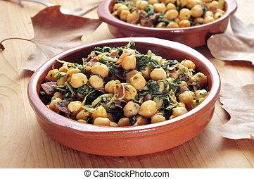 spanish espinacas con garbanzos, spinach with chickpeas,...